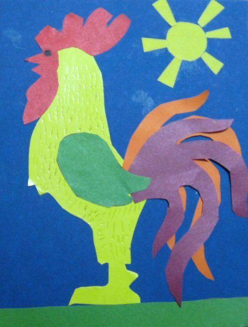 Аппликация из цветной бумаги петушок